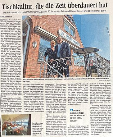 Das Restaurant & Hotel Waffenschmiede wird 50 Jahre alt